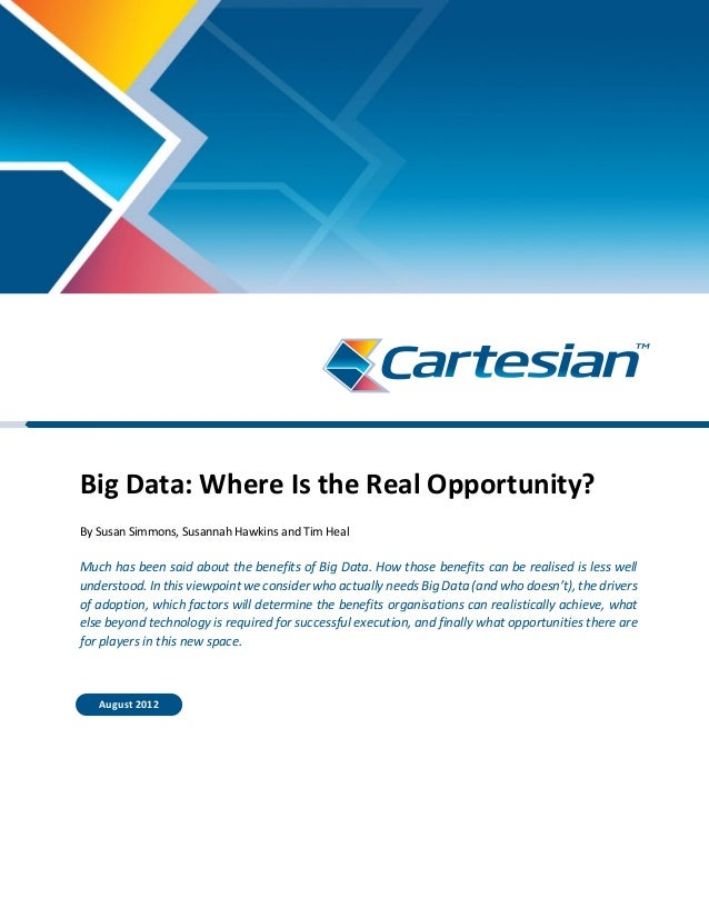 Big Data: Where Is the Real Opportunity? By Susan Simmons, Susannah Hawkins and Tim Heal Much has been said about the bene...