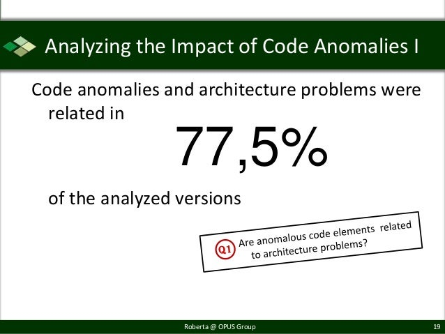 Analyzing the Impact of Code Anomalies ICode anomalies and architecture problems were  related in                77,5% of ...