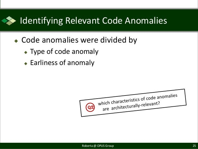 Identifying Relevant Code Anomalies   Code anomalies were divided by       Type of code anomaly       Earliness of anom...