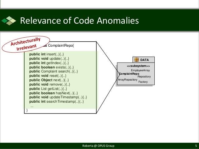 Relevance of Code Anomalies public class ComplaintRepo{   ...   public int insert(..){..}   public void update(..){..}    ...