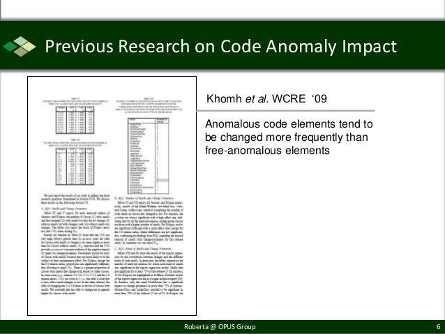 "Previous Research on Code Anomaly Impact                     Khomh et al. WCRE ""09                    Anomalous code eleme..."