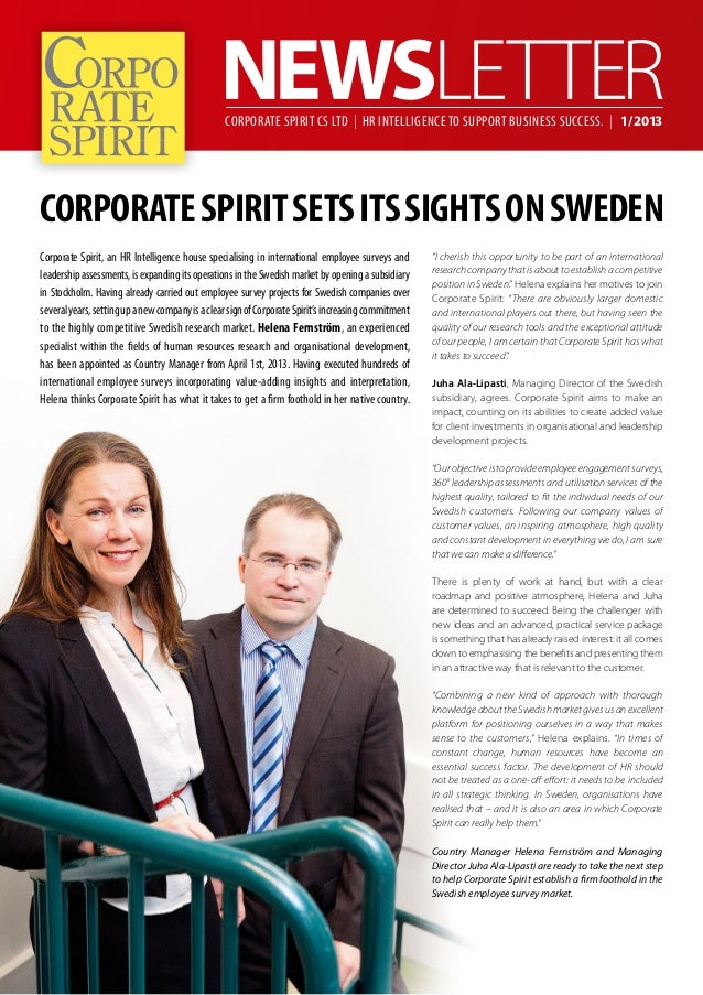 Corporate Spirit CS Ltd | HR Intelligence to support business success. | 1/2013Corporate Spirit sets its sights on SwedenC...