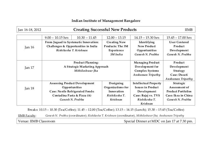 Indian Institute of Management BangaloreJan 16-18, 2012                        Creating Successful New Products           ...