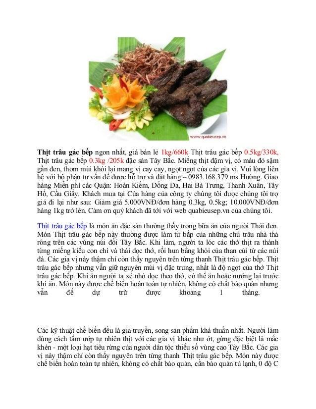Thịt trâu gác bếp ngon nhất, giá bán lẻ 1kg/660k Thịt trâu gác bếp 0.5kg/330k,Thịt trâu gác bếp 0.3kg /205k đặc sản Tây Bắ...