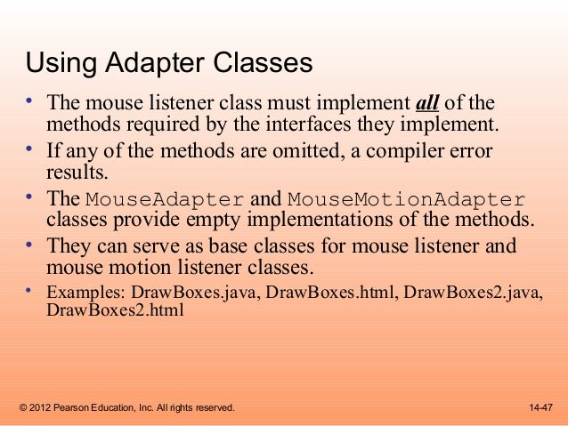 mouse listener and mouse motion listener java applet example program Java swing and java 2d   pantham's implementation of this program is as a standalone java program the applet version is  the program recognizes the mouse.