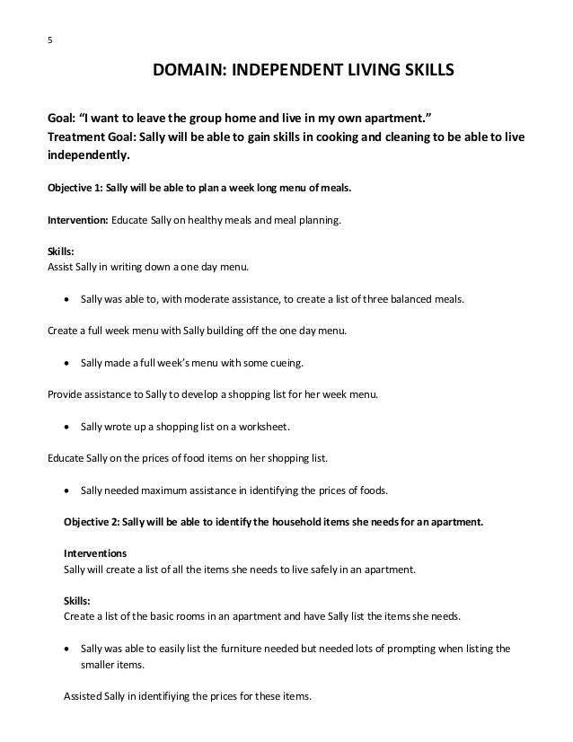 Csp Goals Objectives Interventions and Skills – Independent Living Skills Worksheets