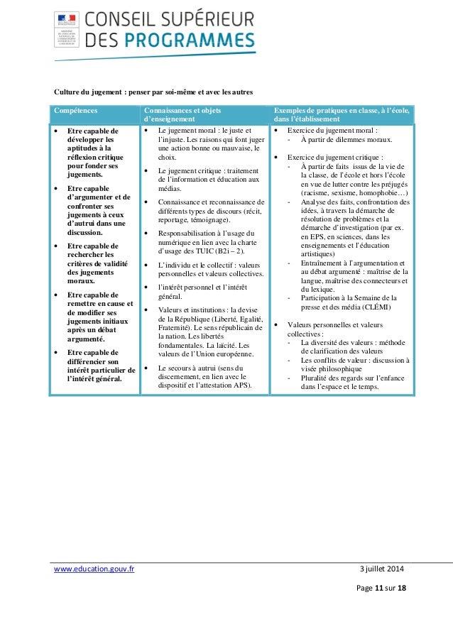 www.education.gouv.fr 3 juillet 2014 Page 11 sur 18 Culture du jugement : penser par soi-même et avec les autres Compétenc...
