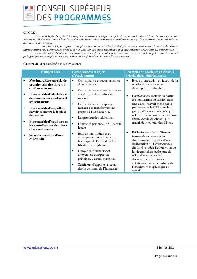 www.education.gouv.fr 3 juillet 2014 Page 13 sur 18 CYCLE 4 Comme à la fin du cycle 3, l'enseignement moral et civique au ...