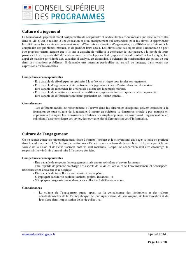 www.education.gouv.fr 3 juillet 2014 Page 4 sur 18 Culture du jugement La formation du jugement moral doit permettre de co...