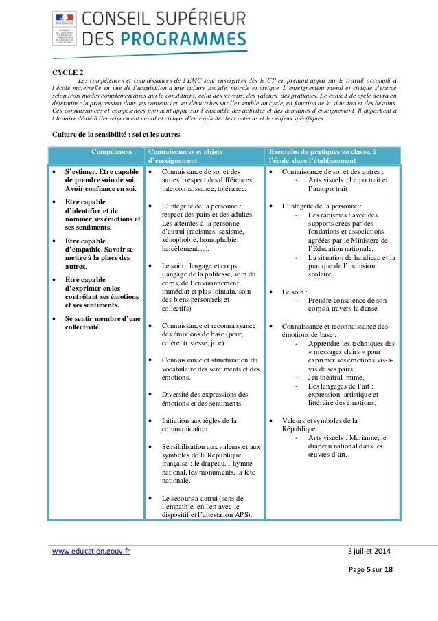 www.education.gouv.fr 3 juillet 2014 Page 5 sur 18 CYCLE 2 Les compétences et connaissances de l'EMC sont enseignées dès l...