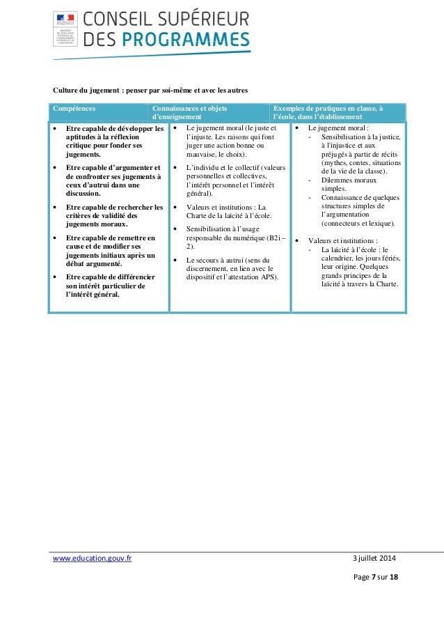 www.education.gouv.fr 3 juillet 2014 Page 7 sur 18 Culture du jugement : penser par soi-même et avec les autres Compétence...
