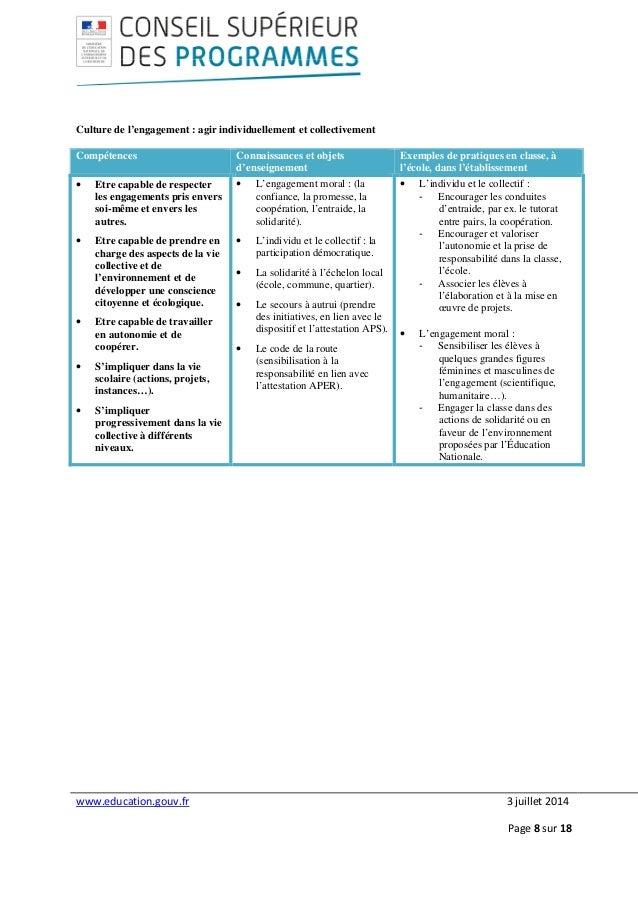 www.education.gouv.fr 3 juillet 2014 Page 8 sur 18 Culture de l'engagement : agir individuellement et collectivement Compé...