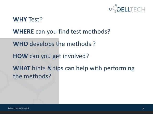 Test Methods for Cleaning Product Validation and Certification with CSPA Slide 2