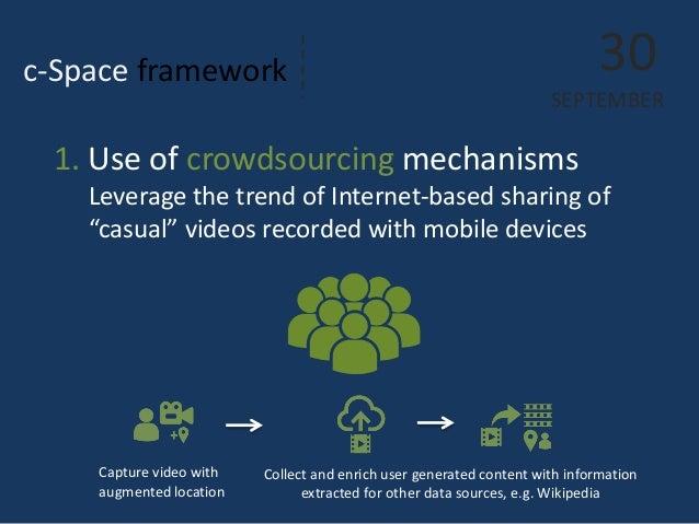 "c-Space framework  30  SEPTEMBER  1. Use of crowdsourcing mechanisms Leverage the trend of Internet-based sharing of ""casu..."