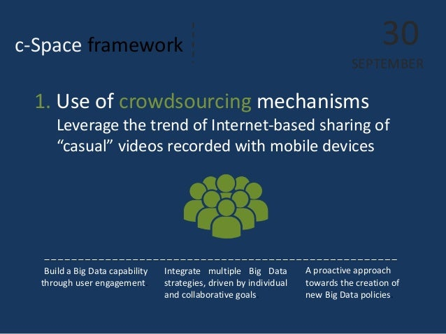 c-Space framework  30 SEPTEMBER  Build a Big Data capability through user engagement.  Integrate multiple Big Data strateg...