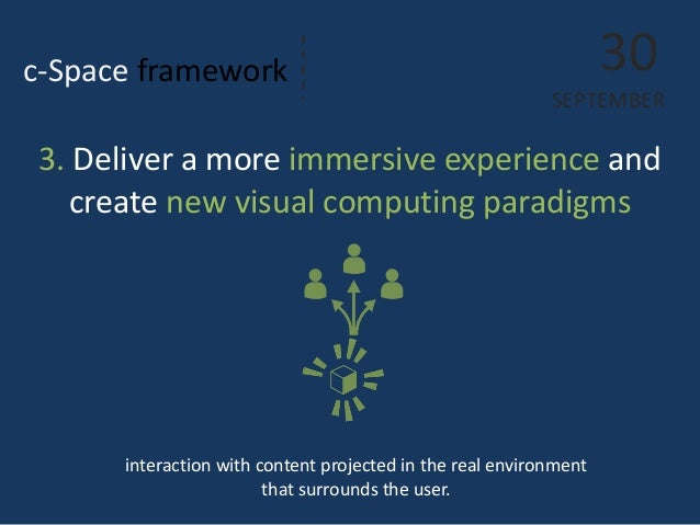 c-Space framework  interaction with content projected in the real environment that surrounds the user.  30  SEPTEMBER  3. ...