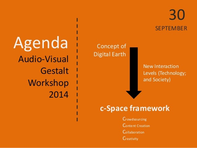Agenda  Audio-Visual  Gestalt  Workshop  2014  Concept of Digital Earth  c-Space framework  30 SEPTEMBER  New Interaction ...