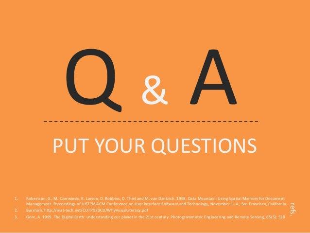 Q & A  PUT YOUR QUESTIONS  1.  Robertson, G., M. Czerwinski, K. Larson, D. Robbins, D. Thiel and M. van Dantzich. 1998. Da...