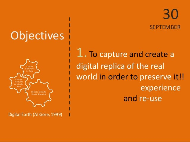 Objectives  1. To capture and create a digital replica of the real world in order to preserve it!!  experience  and re-use...