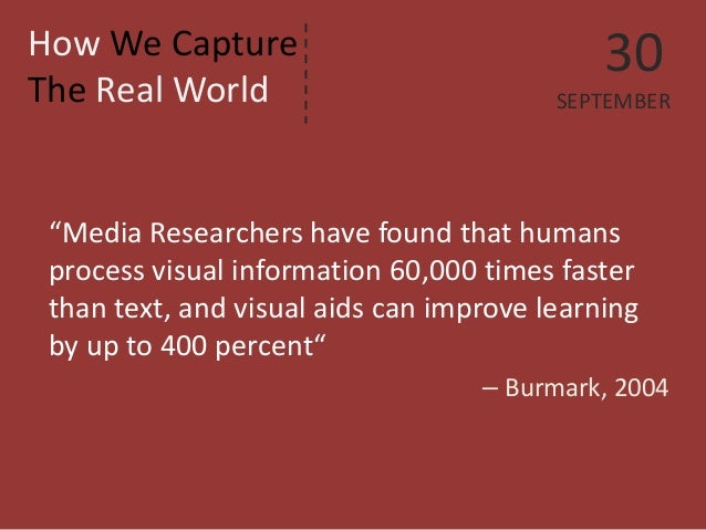 """How We Capture The Real World  """"Media Researchers have found that humans process visual information 60,000 times faster th..."""