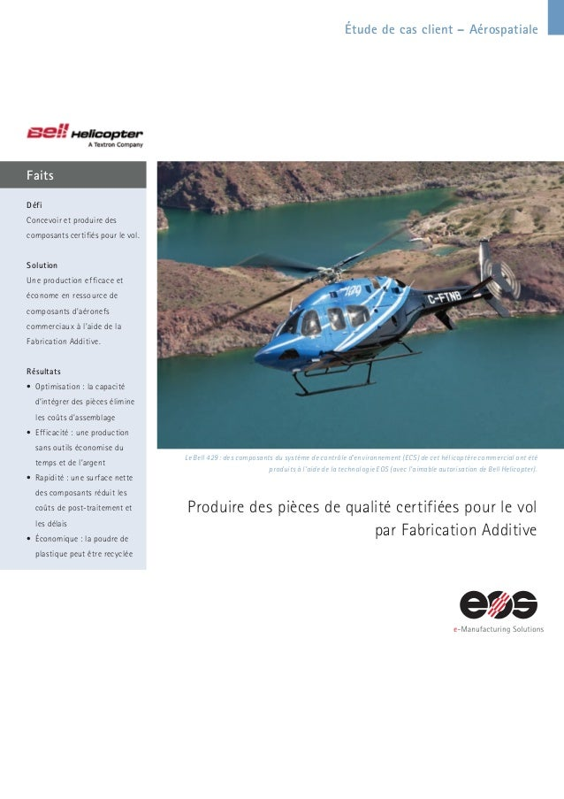 Étude de cas client – Aérospatiale Faits Le Bell 429 : des composants du système de contrôle d'environnement (ECS) de cet ...