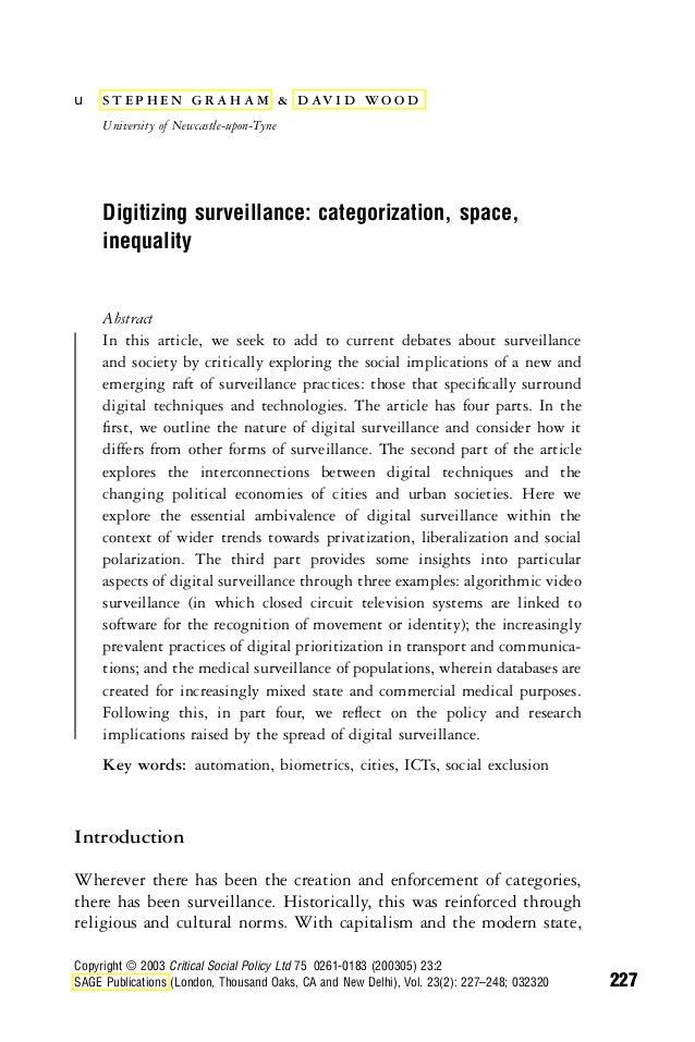 u  S T E P H E N G R A H A M & D AV I D W O O D University of Newcastle-upon-Tyne  Digitizing surveillance: categorization...