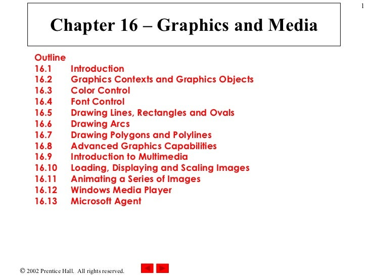 Chapter 16 – Graphics and Media Outline 16.1  Introduction 16.2  Graphics Contexts and Graphics Objects 16.3  Color Contro...