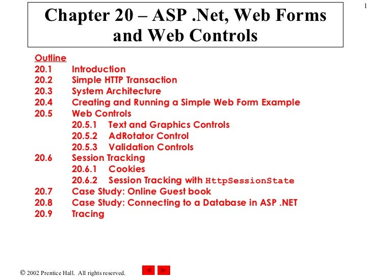 Chapter 20 – ASP .Net, Web Forms and Web Controls Outline 20.1  Introduction 20.2  Simple HTTP Transaction 20.3  System Ar...