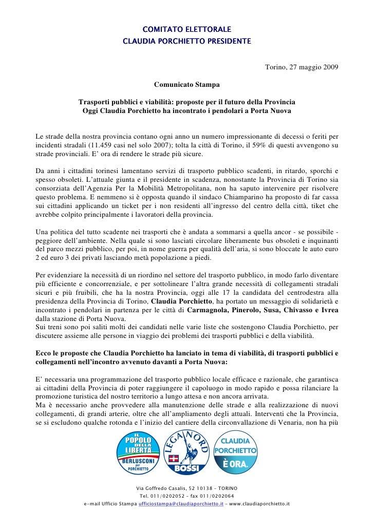 COMITATO ELETTORALE                                CLAUDIA PORCHIETTO PRESIDENTE                                          ...