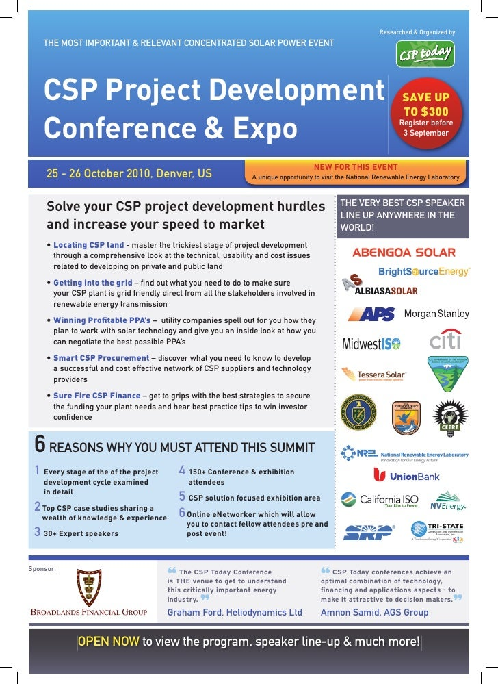 Researched & Organized by     THE MOST IMPORTANT & RELEVANT CONCENTRATED SOLAR POWER EVENT         CSP Project Development...