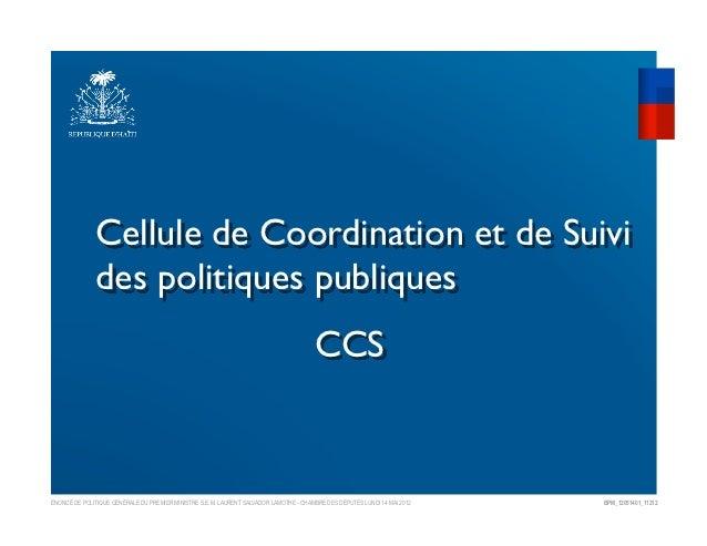Cellule de Coordination et de Suivi              des politiques publiques                                                ...
