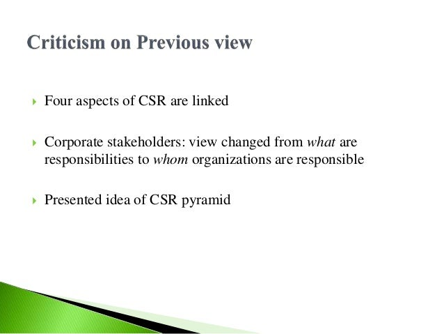 carroll s pyramid of csr nestle Which roles the different stakeholders play for the organization second, carroll's pyramid of csr will philip morris usa inc & corporate social responsibility.