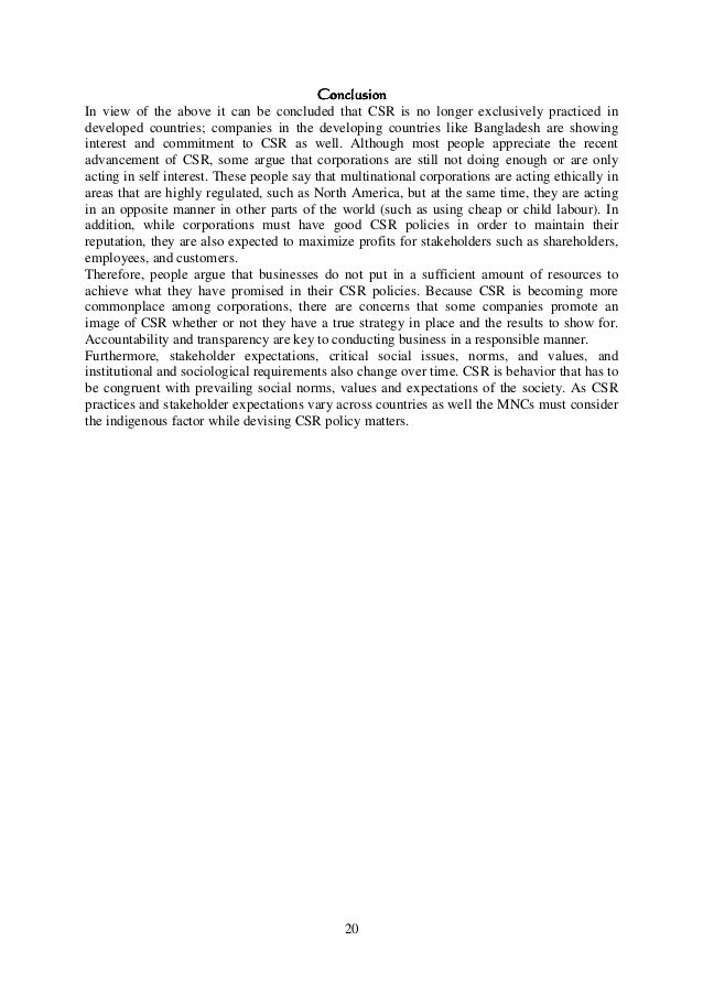 Corporate Social Responsibility (CSR) of MNCs in Bangladesh: A ...