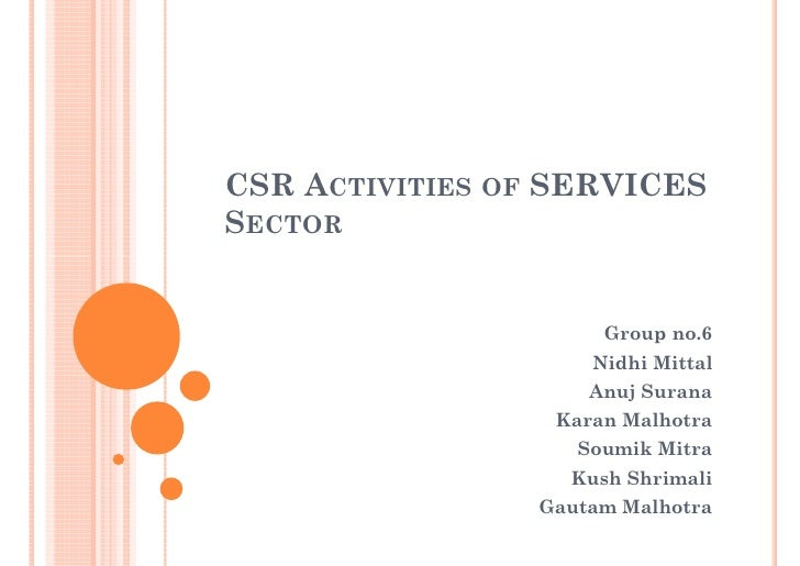 CSR ACTIVITIES OF SERVICES SECTOR                        Group no.6                     Nidhi Mittal                     A...