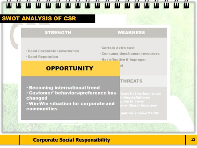 what are the strengths and weaknesses of corporate social responsibility Purpose: for this option you will be required to gather first-hand knowledge in order to analyze the strengths and weaknesses of discretionary activities taken by your firm as they relate to the domain of corporate social and environmental responsibility.