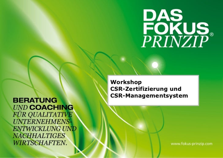 WorkshopCSR-Zertifizierung undCSR-Managementsystem