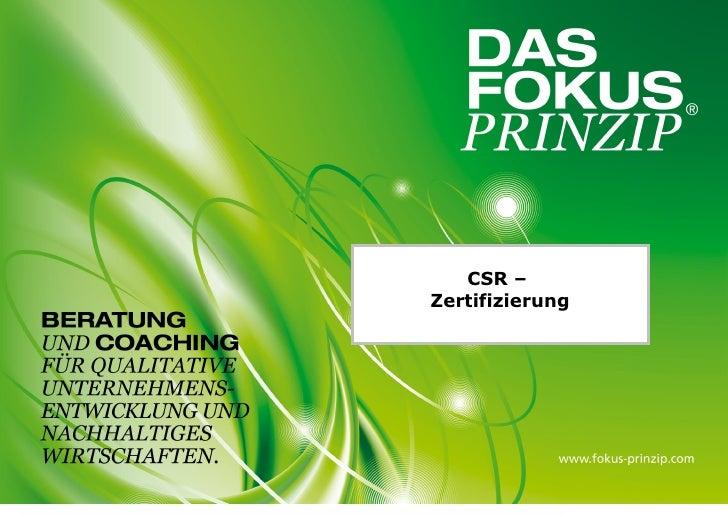 CSR –Zertifizierung