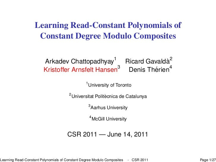 Learning Read-Constant Polynomials of                     Constant Degree Modulo Composites                               ...