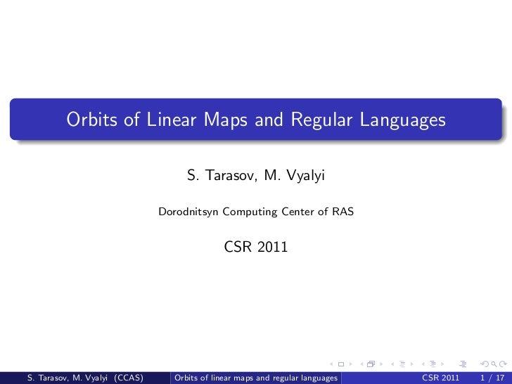 Orbits of Linear Maps and Regular Languages                                    S. Tarasov, M. Vyalyi                      ...