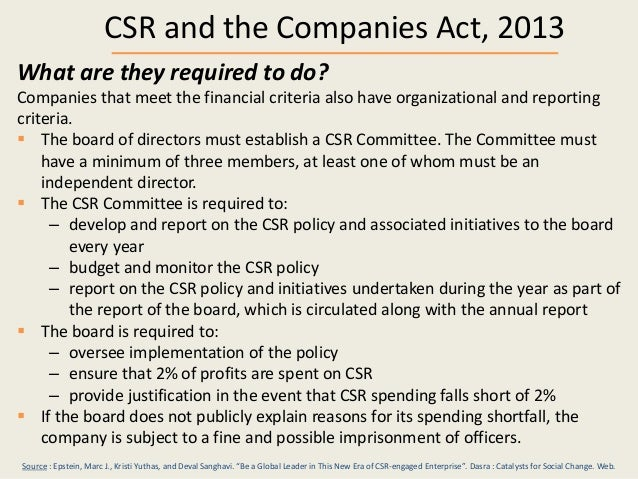 companies act 2013 and csr See what companies act 2013 states for corporate social responsibilities and what ey has to suggest and recommends through our insights.