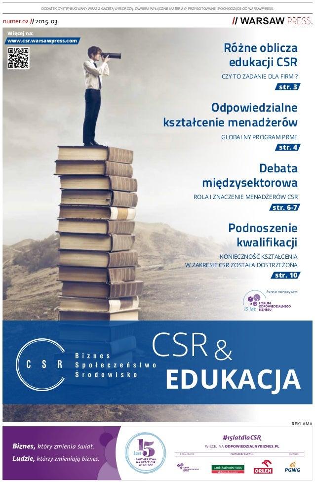 01a560afacd7b reklama CSR edukacja & numer 02 // 2015. 03 DODATEK DYSTRYBUOWANY WRAZ Z  GAZETĄ ...