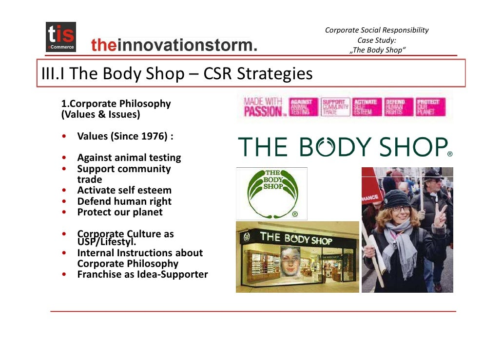 Corporate social responsibility of the body shop