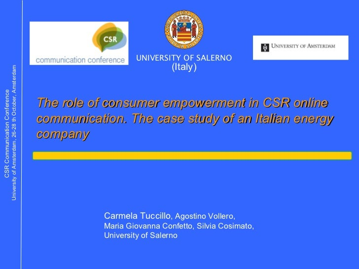 The role of consumer empowerment in CSR online communication. The case study of an Italian energy company (Italy) UNIVERSI...