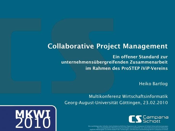 Collaborative Project Management                        Ein offener Standard zur    unternehmensübergreifenden Zusammenarb...