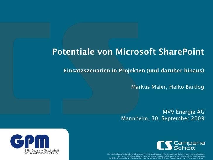 Potentiale von Microsoft SharePoint    Einsatzszenarien in Projekten (und darüber hinaus)                                 ...