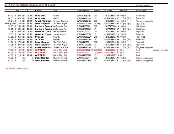 CITY SLANG Release Schedule as of 15.06.2011                                                                              ...