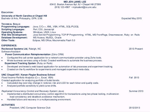 Resume\'s for Computer Science students 2014