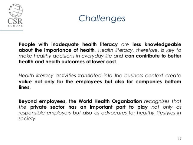 csr europe presentation cv health literacy at enterprise