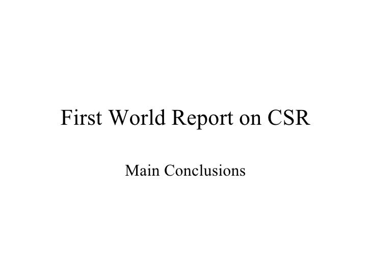 First World Report on CSR Main Conclusions