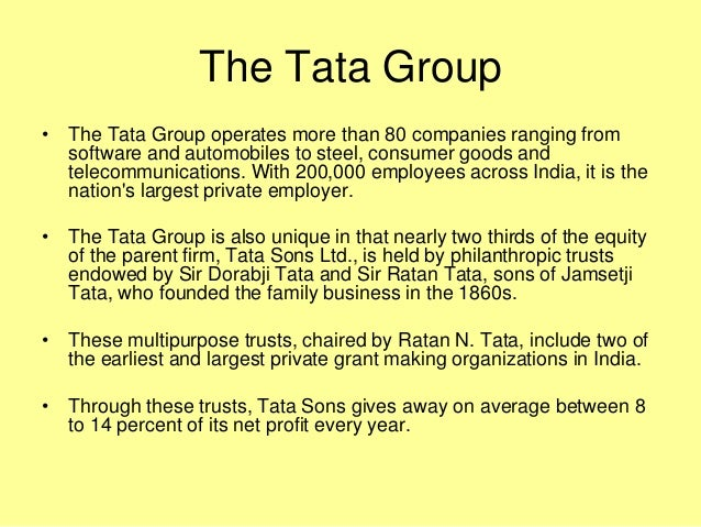 tata group Tata group (/ ˈ t ɑː t ɑː /) is an indian multinational conglomerate holding company headquartered in mumbai, maharashtra, india founded in 1868 by jamshedji.